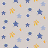 Stars on night sky boy seamless vector pattern.
