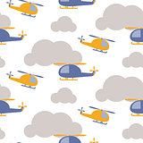 Cartoon helicopter in sky seamless vector pattern.