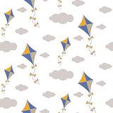 Kite in sky seamless vector pattern.