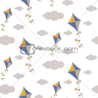 Kite in sky seamless vector pattern.