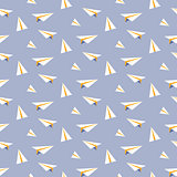 Origami paper plane seamless vector pattern.