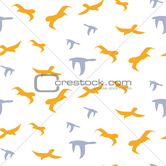 Flock of birds seamless vector pattern.