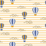Hot air balloons seamless vector pattern.