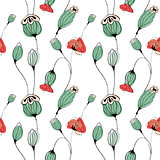 Poppy capsule seamless pattern