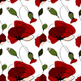 Poppy flower summer seamless pattern