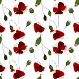 Poppy flower field seamless pattern