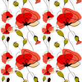 Poppy flowers and capsules seamless pattern