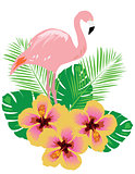 flamingo with tropical flowers