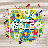 Summer sale design, floral frame on cardboard paper