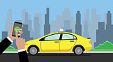 online booking taxi hand holding smartphone to book with taxi on the way as background vector graphic