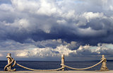 Seafront and cloudy storm sky in autumn