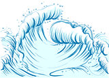 Blue wave with foam cap. High sea wave