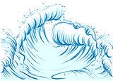 Blue wave with foam cap. High sea wave