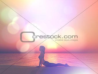 3D render of female in yoga pose against sunset ocean