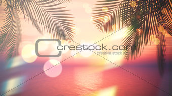 3D sunset ocean with palm tree fronds and vintage effect