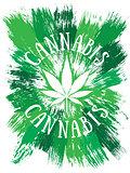 Cannabis leaf design green brush texture background