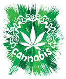 Cannabis leaf design green brush texture background