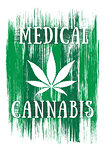 Cannabis leaf design green brush texture background Medical Cannabis leaf banner with textured background