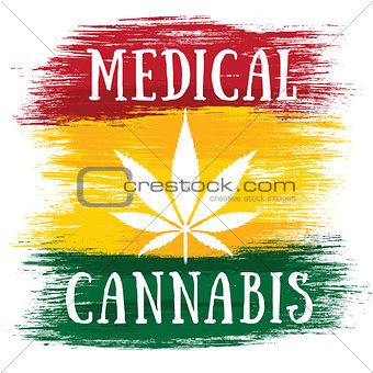 Cannabis leaf design green brush texture background Medical Cannabis leaf banner with textured backgroundMedical Cannabis leaf jamaican flag background