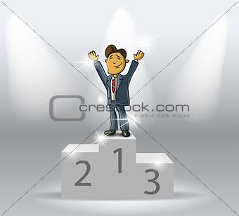 business man on podium