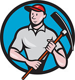 Construction Worker Pickaxe Circle Cartoon