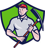 Construction Worker Pickaxe Crest Cartoon