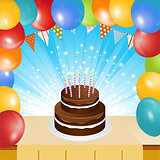Birthday cake balloons and bunting background