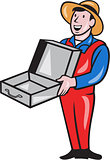 Man Holding Empty Open Suitcase Cartoon