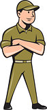 Tradesman Arms Crossed Isolated Cartoon