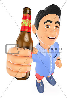 3D Young man in shorts with a bottle of beer