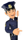 3D Policeman pointing aside. Blank space