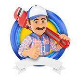 3D Logo. Plumber with pipe wrench