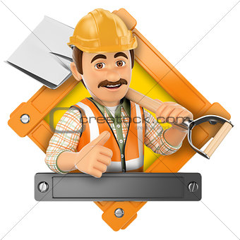 3D Logo. Worker with shovel