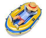 3D Man in shorts sleeping on an inflatable boat