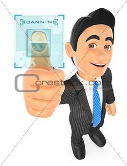 3D Businessman identifying with fingerprint
