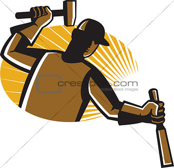 Carpenter Worker With Hammer and Chisel