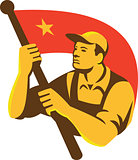 Communist Worker With Red Flag Star Retro