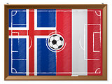 Soccer field with austrian and iceland flag