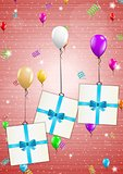 birthday card with balloons and gift