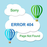 Air balloon with 404 error notification on white clouds