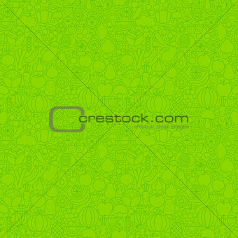 Green Thin Line Fruits Vegetables Seamless