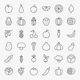 Fruit Vegetable Line Art Icons Big Set