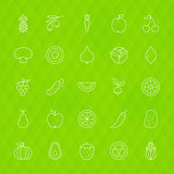 Fruit Vegetable Line Icons Set Polygonal