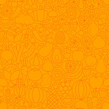 Orange Healthy Food Line Tile Pattern