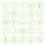 Line Circle Fresh Fruit Vegetable Icons