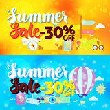Summer Sale 30 Off Web Banners Travel Blur