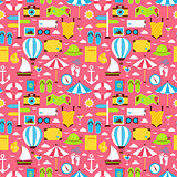 Pink Flat Travel Vacation Seamless Pattern