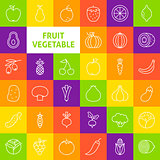 Vector Line Art Fruit Vegetable Icons Set