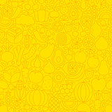 Yellow Fruit Vegetable Line Tile Pattern