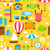 Yellow Flat Summer Travel Voyage Seamless Pattern